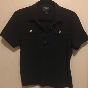 Chaps navy and gold detailing collared t shirt